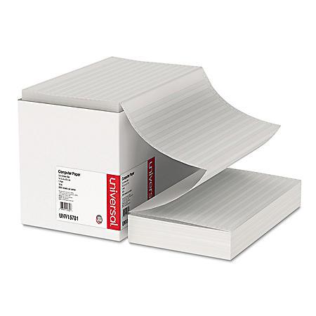 Universal® Green Bar Computer Paper, 18lb, 14-7/8 x 8-1/2, Perforated Margins, 2800 Sheets