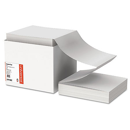 """Universal Computer Paper, Letter Trim Perforations, 20lb, 9-1/2"""" x 11"""", White, 2400 Sheets"""