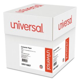 "Universal® Computer Paper, 20lb, 9-1/2"" x 11"", Letter Trim Perforation, White, 2300 Sheets"