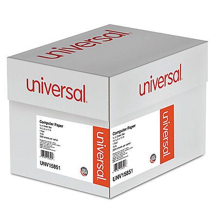 "Universal® Green Bar Computer Paper, 18lb, 14-7/8 x 11"", Perforated Margins, 2600 Sheets"