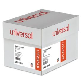 "Universal® Green Bar Computer Paper, 18lb, 14-7/8 x 11"", Perforated Margins, 2600 Sheets"