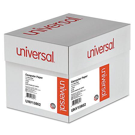 "Universal® Blue Bar Computer Paper, 20lb, 14-7/8"" x 11"", Perforated Margins, 2400 Sheets"