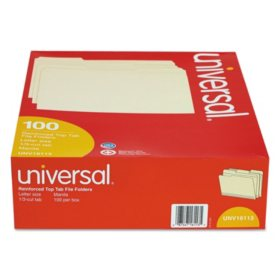 Universal® File Folders, 1/3 Cut Assorted, Two-Ply Top Tab, Manila, 100/Box (Various Types)