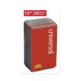"Universal® Wirebound Memo Books, Narrow Rule, 5"" x 3"", Orange, 12 50 Sheet Pads/Pack"
