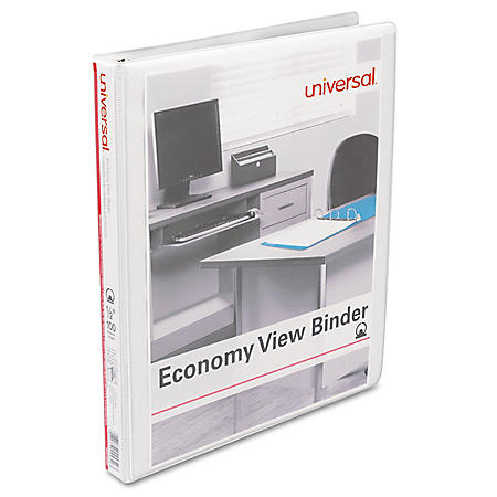 Universal Economy Round Ring View Binder, White, 6/Pack (Various Sizes)