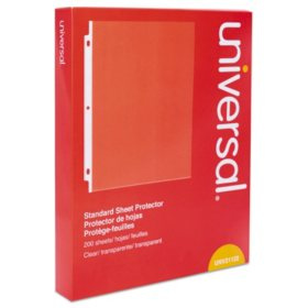 "Universal® Standard Sheet Protector, Standard, 8 1/2"" x 11, Clear, 200/Box"