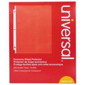 "Universal® Standard Sheet Protector, Economy, 8 1/2"" x 11, Clear, 200/Box"