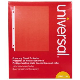 Universal® Top-Load Poly Sheet Protectors, Economy, Letter, 100/Box