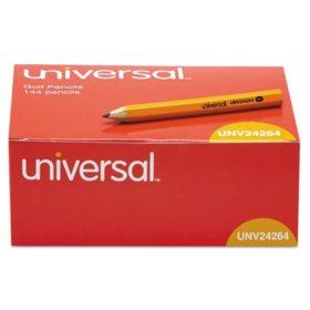Universal® Golf & Pew Pencil, HB, Yellow Barrel, 144ct.