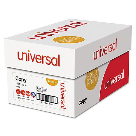 "Universal® Copy Paper, 92 Brightness, 20lb, 11"" x 17"", White, 2500 Sheets/Carton"