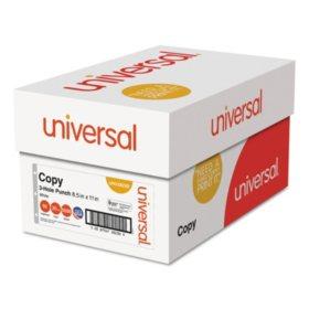 "Universal® Copy Paper, 92 Brightness, 20lb, 8-1/2"" x 11"", 3-Hole Punch, White, 5000 Shts/Ctn"