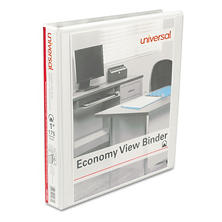 "Universal Round Ring Economy View Binder, 1"" Capacity, White, 12ct."