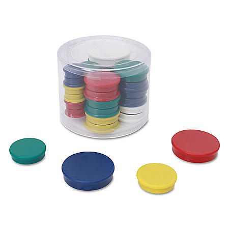 """Universal Assorted Magnets, 3/4"""" Dai, 1 1/4"""" Dia, 1 1/2"""" Dia, Asst Colors, 30/Pack"""