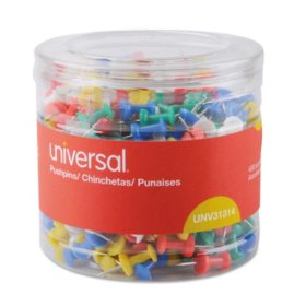 """Universal Colored Push Pins, Plastic, Assorted, 3/8"""", 400/Pack"""