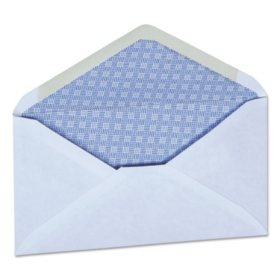 "Universal® Security Envelope, 3 5/8"" x 6"" 1/2"", White, 250/Box"