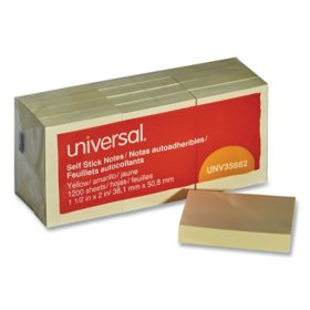 "Universal® Self-Stick Note Pads, 1 3/8 x 1 7/8"", Yellow, 12 100-Sheet/Pack"