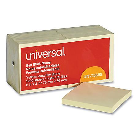 Universal Self-Stick Note Pads, 3 x 3, Yellow, 100-Sheet, 12/Pack