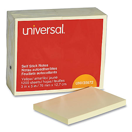 Universal Self-Stick Note Pads, 3 x 5, Yellow, 100-Sheet, 12/Pack