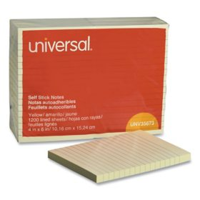Universal Self-Stick Note Pads, Lined, 4 x 6, Yellow, 100-Sheet, 12/Pack