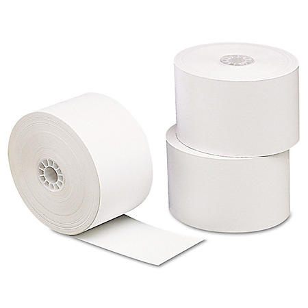 """Universal® Single-Ply Thermal Paper Rolls, 3 1/8"""" x 230 ft., White (Various Counts)"""