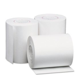 """Universal® Single-Ply Thermal Paper Rolls, 2 1/4"""" x 80 ft., White, 50/Carton"""