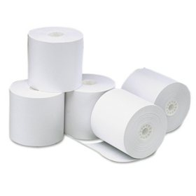 """Universal® Single-Ply Thermal Paper Rolls, 3 1/8"""" x 273 ft., White, 50/Carton"""