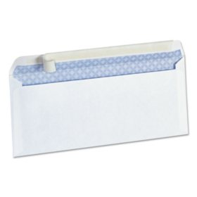 "Universal® Peel Seal Strip Security Envelope, #10, 4 1/8"" x 9 1/2"", White, 100/Box"