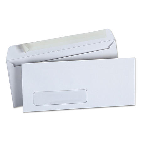 "Universal® Peel Seal Strip Business Envelope, #10, 4 1/8"" x 9 1/2"", Window, White, 500/Box"