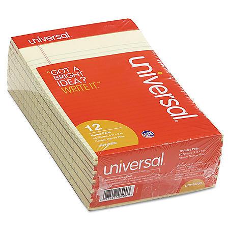 "Universal® Perforated Edge Writing Pad, Narrow Rule, 5"" x 8"", Canary, 50 Sheet, Dozen"