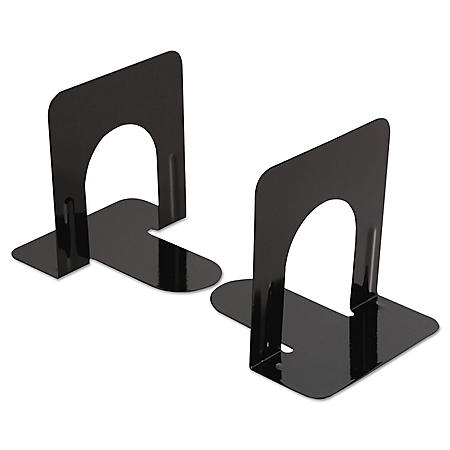 Universal Economy Bookends, Nonskid, Heavy Gauge Steel, Black (Various Sizes)