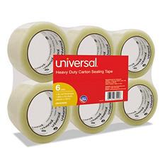 "Universal General-Purpose Box Sealing Tape, 48mm x 54.8m, 3"" Core, Clear, 6/Pack (Various Colors)"
