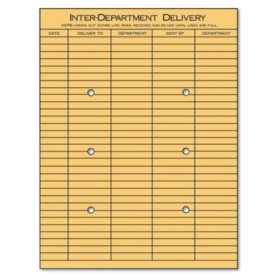 "Universal® Light Brown Kraft String & Button Interoffice Envelope, 10"" x 13"", 100/Box"