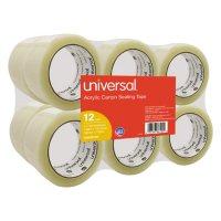 "Universal® General-Purpose Acrylic Box Sealing Tape, 48mm x 100m, 3"" Core, Clear, 12/Pack"