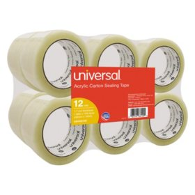"Universal® General-Purpose Acrylic Box Sealing Tape, 48mm x 100m, 3"" Core, Clear, 12/Pack"