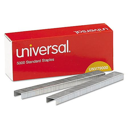 Universal® Standard Chisel Point 210 Strip Count Staples, 5,000/Box, 5 Boxes per Pack