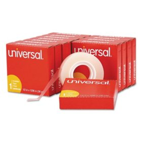 "Universal Invisible Tape, 1/2"" x 1296"", 1"" Core, Clear, 12pk."
