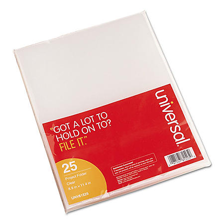 Universal® Project Folders, Jacket, Poly, Letter, Clear, 25/Pack
