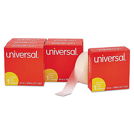 """Universal Invisible Tape, 1"""" Core, 0.75"""" x 83.33 ft, Clear, 6/Pack"""