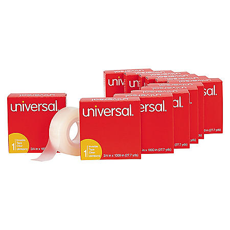 """Universal Invisible Tape, 1"""" Core, 0.75"""" x 83.33 ft, Clear, 12/Pack"""