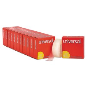 "Universal Invisible Tape, 1"" Core, 0.75"" x 36 yds, Clear, 12/Pack"