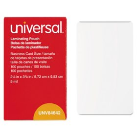 "Universal Laminating Pouches, 5 mil, 3.75"" x 2.25"", Matte Clear, 100/Box"