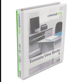 Universal® Slant-Ring Economy View Binder, White, 4 per Pack (Various Sizes)