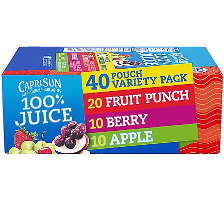 Capri Sun 100% Juice Variety Pack (40 ct.)