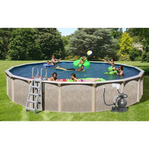 """Sun N Fun Galaxy View Round Above Ground Pool Package - 21' x 52"""""""