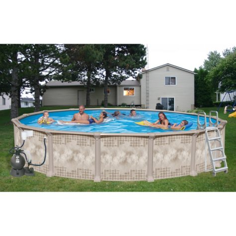 """Nautilus Above Ground Round Deluxe Pool Package - 24' x 52"""""""