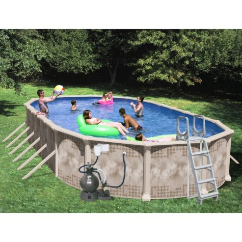 """Nautilus 30' x 15' x 52"""" Oval Deluxe Pool Package"""