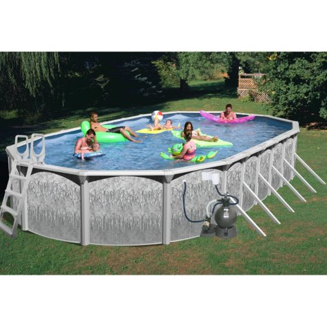 "Rock View 33' x 18' x 52"" Oval Deluxe Pool Package"
