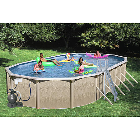 Sun N Fun Galaxy View Oval Above Ground Pool Package - 33\' x 18\' x ...