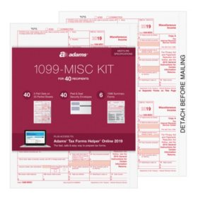 Adams® 1099-MISC Tax Forms Kit For 40 Recipients With Tax Forms Helper® Online 2019
