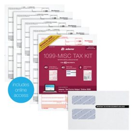 Adams 1099-MISC 2020 Tax Forms Kit W/Tax Forms Helper Online, 40/pack